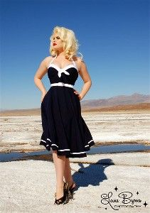 The Vintage Inspired Sailor Swing Dress in Navy with White Trim by Pinup Clothing