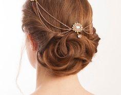 Bridal headpiece in Rose Gold - Wedding Hair Accessory for back of head - draped Hair chain - 1930s Wedding Dress - Art Deco Headpiece