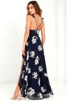 All Mine Navy Blue Floral Print High-Low Wrap Side Slit Maxi Dress, Sexy Maxi Dress, Chiffon Dress, Print Chiffon, Stylish Dresses, Cute Dresses, Wrap Dresses, Long Dresses, Maxi Dresses
