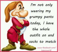 Im not only wearing my grumpy pants Disney Cartoons, Funny Cartoons, Funny Cute, The Funny, Grumpy Dwarf, Mrs Browns Boys, Walt Disney Characters, Disney Princesses, Snow White 7 Dwarfs