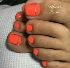 Orange Toe Nailart Pedikiur In 2019 Toe Nails Easy Toe Simple Toe Nails, Pretty Toe Nails, Cute Toe Nails, Toe Nail Color, Toe Nail Art, Nail Colors, Orange Toe Nails, Gel Zehen, Toenails