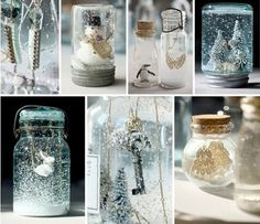 decorating with snow globes christmas | Holiday decorating involving children kids Christmas crafts snow globe