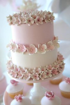 Pretty Pale Pink Cake with Flowers