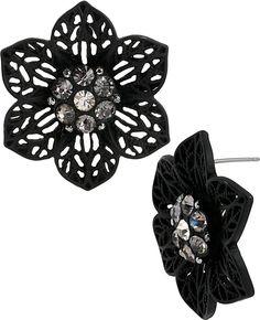 Blackout Flower Button Studs