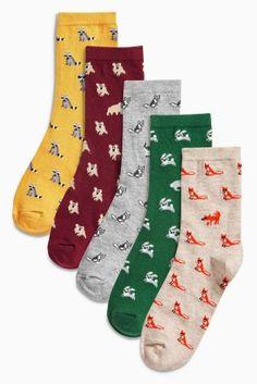 Multi Miniature Animal Pattern Ankle Socks Five Pack