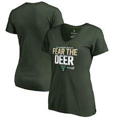 Milwaukee Bucks Fanatics Branded Women's 2017 NBA Playoffs Participant Drive  Plus Size V-Neck T-Shirt - Green
