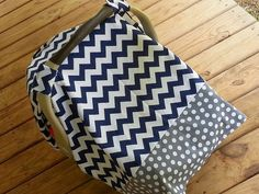 Navy and Gray Nursery!  Car Seat Cover in Navy Chevron and Gray and by jennypennydesigns, $34.99