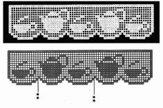 Free filet crochet pattern curtains with coffee pot and cups Filet Crochet Charts, Crochet Motifs, Crochet Borders, Thread Crochet, Crochet Trim, Crochet Doilies, Crochet Lace, Crochet Stitches, Crochet Patterns