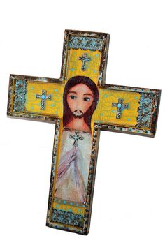 DIvine Mercy   Wall Cross Mixed Media Art by FLOR by FlorLarios
