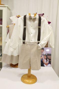 Traje de niño para boda. Lino crudo con pantalón piedra. Tirantes (por separado) y pajarita. Ropa vestir niños, cumpleaños, eventos, pajes.