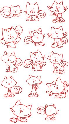 Kitties, lots of them (embroidery patterns).