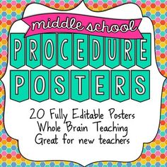 """A set of 20 of Class Procedure Posters NOW FULLY EDITABLE! Includes Power Teaching (""""Class, Yes""""), pencil sharpening, getting make-up work and more! This is a great resource for new teachers. Use the posters that apply to your classroom or all of them! Middle School Procedures, Middle School Posters, Middle School History, Classroom Procedures, Middle School Classroom, Classroom Rules, Middle School Science, Science Classroom, Classroom Management"""