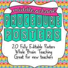 Middle School Procedure Posters - UPDATED