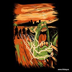 Espectacular y original diseño TheGhostbusters, en el que Slimer el más conocido de los fantasmas recrea el cuadro de El grito de Munch.  Si eres un gran fans de esta película esta camiseta tiene que ser tuya, pásate por FRIKING ÚBEDA y consíguela.  C/OBISPO COBOS, 31 - ÚBEDA