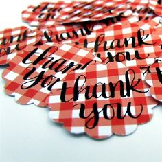 Calligraphy Thank You Stickers, package 20 Red and White Gingham Stickers for weddings and stationery, hand lettering by KisforCalligraphy. via Etsy.