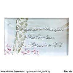 Shop White brides dress wedding place card holder created by personalized_wedding. Wedding Supplies, Wedding Favors, Wedding Reception, Wedding Places, Wedding Place Cards, Metal Card Holder, Table Cards, Dress Wedding, Personalized Wedding