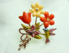 Vintage Bird Flower Brooch with Enamel Overlay and by Ladysfancys, $12.99