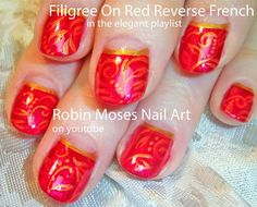 Nail Art Tutorial | DIY Red on Red Filigree | Reverse French Mani Design