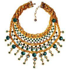 Pre-owned 1960s Countess Zoltowska - CIS Haute Couture Necklace ($4,400) ❤ liked on Polyvore featuring jewelry, necklaces, multi-strand necklaces, pendant chain necklace, crown necklace, braided chain necklace, green pendant necklace and swarovski crystal pendant necklace