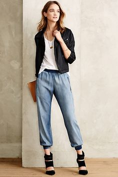 Zipped Chambray Joggers - anthropologie.com #anthrofave