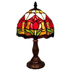 Amora Lighting Tiffany Style Tulips Mini Table Lamp (Tulips Mini Table Lamp), Green (Art Glass)