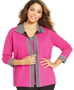6a63d7ce4fa Jones New York Collection Plus Size Striped Cardigan Plus Sizes - Sweaters  - Macy s