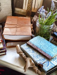 some of my beautiful journals - many hand made - I have been collecting for 45 years - www.windowsillchronicles.com