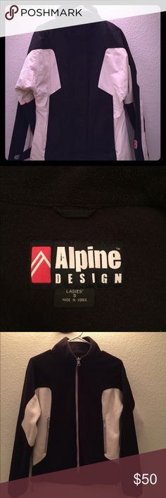Alpine Design S Ladies Ski Jacket w/ Fleece Liner Very nice used condition ski jacket by Alpine Design!  Minimal wear marks on the white areas. Beautiful, warm and water resistant, this is a great deal for any outdoor winter activities.  Nice length sleeves for a small too. Alpine Design Jackets & Coats