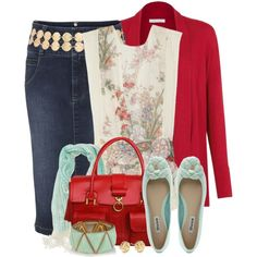 Denim Skirt and Flats styled via @Polyvore featuring the #MelBoteri 'Christy' #Tote in Poppy Red
