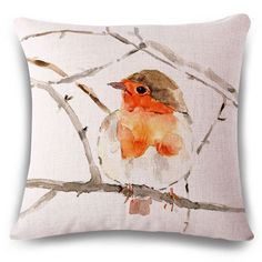 Fashionable Hand-Painted Bird Pattern Square Shape Flax Pillowcase (Without Pillow Inner) #women, #men, #hats, #watches, #belts