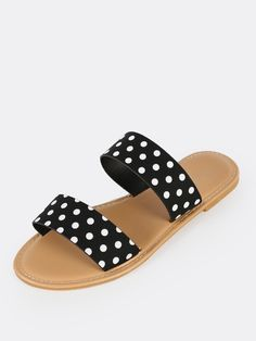 SheIn offers Polka Dot Double Banded Sandals BLACK & more to fit your fashionable needs. Trendy Sandals, Cute Sandals, Cute Shoes, Black Sandals, Toe Band, Toe Ring Sandals, Black Slippers, Leather Baby Shoes, Open Toe Shoes