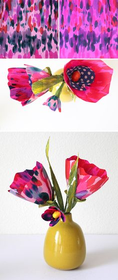 These were my first experiment and reminded me most of tie dye. I just dripped a limited color palette onto a two toned double thick piece of crepe paper. The split frame at the top of this image shows two sides of the same paper...Shastablasta