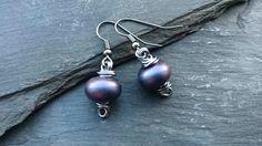 Purple and gunmetal metallic finish earrings £12.00
