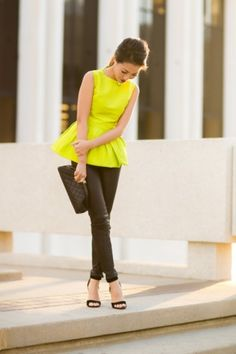 peplum outfit neon