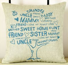 New Modern Sweet Family Tree Decorative Pillow Case Art Cushion Cover Throw Sham