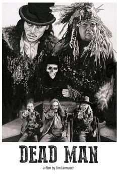 Dead Man - Black & White Character Poster Art. A Film by Jim Jarmusch, Starring Johnny Depp.