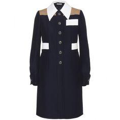 Miu Miu Colour Block Coat (8.250 HRK) ❤ liked on Polyvore featuring outerwear, coats, jackets, dresses, blue, miu miu coat, miu miu, colorblock coat, color block coat and blue coat
