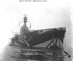 "HMS Furious, 1918, tricked out in ""Razzle Dazzle"" anti-U-Boat camouflage for WWI."
