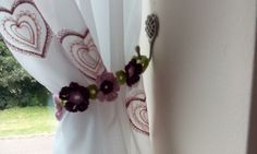 Crochet flower tie backs