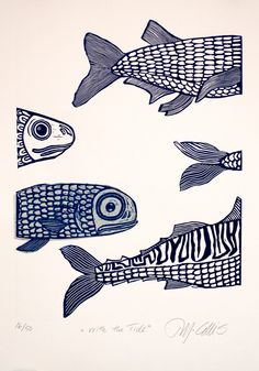 large hand printed , hand inked linocut, I cut the lino shapes, ink them up and put them through my etching press, for every print the fish have to