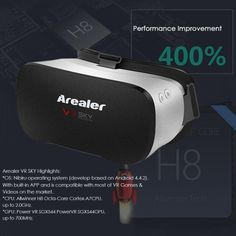 Arealer VR SKY All-in-one Machine Virtual Reality Headset 3D Glasses 1080p 5.5Inch TFT Display Screen 100��FOV Supports 70Hz FPS 2D / 3D / Panorama / Three-dimensional Immersive WiFi Bluetooth 4.0 w /USB port TF Card Slot EU Plug