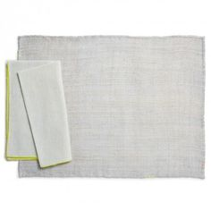 abcDNA Glo Mint & Neon Piping Table Linens  Exclusively at ABC, this table linen set features a crisp cotton napkin and sustainable raw hemp placemat.