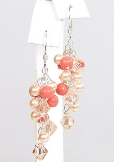 Peach & Coral Chandelier Bridesmaid Earrings Jewelry by bonitaj, $34.00    *We can pick the color of the bead to be more orange!