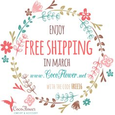 ✽ ❋  Free Worldwide Shipping on March 2016 on my  #eshop www.cocoflower.net ✽ ❋ Frais d'envoi offerts dans ma boutique ✽ ❋CODE FREE16 ✽❋ www.cocoflower.net  ✽❋✽❋  #promotion #coupon #reduction #bijou #cadeau #fetedesmères #motherday #gift #etsy #freeshipping