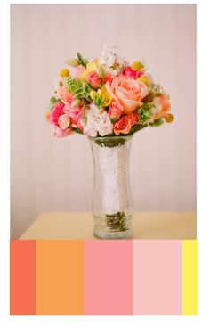 yellow and coral wedding | coral wedding color palettes, Wedding color ideas, wedding planning ...