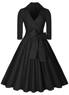 Best deal on Miusol Women's Deep-V Neck Half Sleeve Bow Belt Vintage Classical Casual Swing Dress, Black, X-Large discover this and many other bargains in Crazy by Deals, we bring daily the best discounts for you