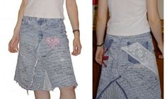 Recycled Denim Skirt with Sharpie marker Graffiti