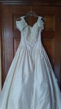 Wallentin Collection 100% Pure Silk Sleeveless White Wedding Dress with Floral N