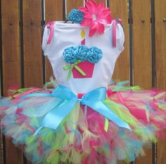 SWEET TART Birthday Girl Set - 3D Cupcake Onesie and Tutu Skirt and Matching Flower Headband- 1st 2nd 3rd 4th 5th Birthday