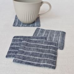 Fog Linen Coaster - Stripes